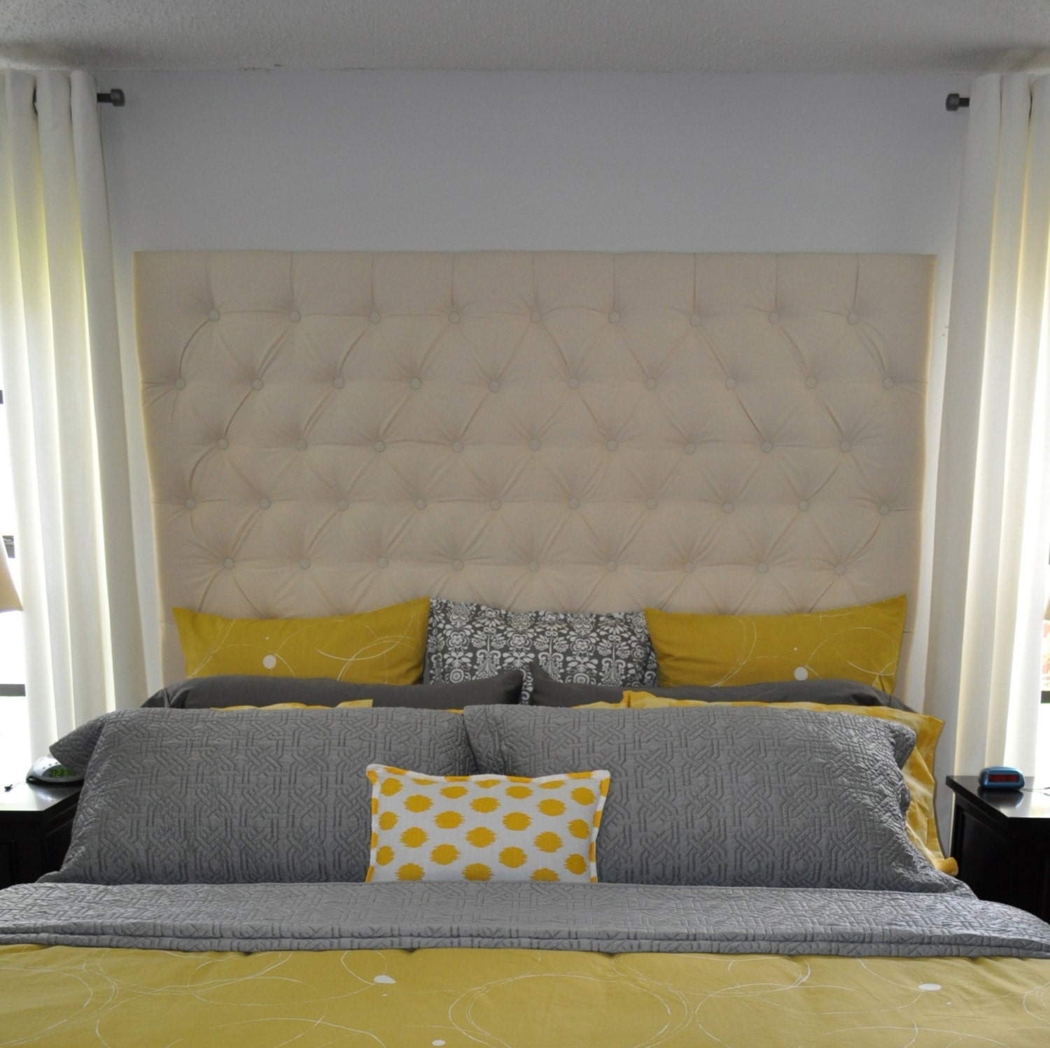 items similar to diamond tufted cotton canvas headboard king tall on etsy. Black Bedroom Furniture Sets. Home Design Ideas