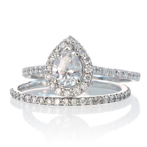 Pear Shape Teardrop Diamond Halo Engagement Solitaire by SAMnSUE
