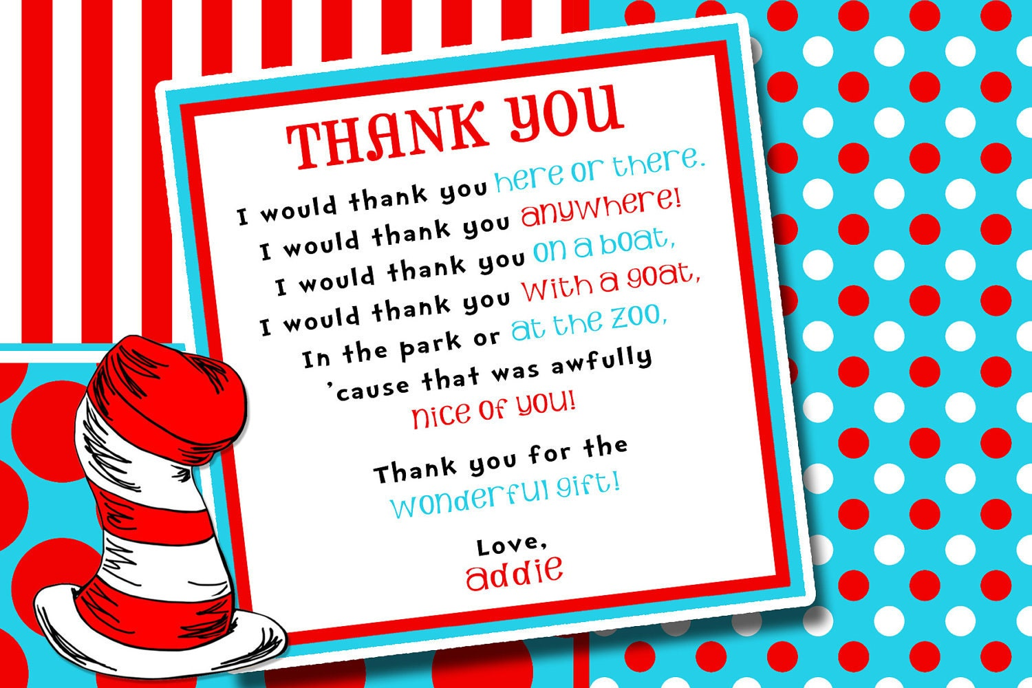 Hat seuss thing and thank you card birthday party invitation img1systatic monicamarmolfo Images