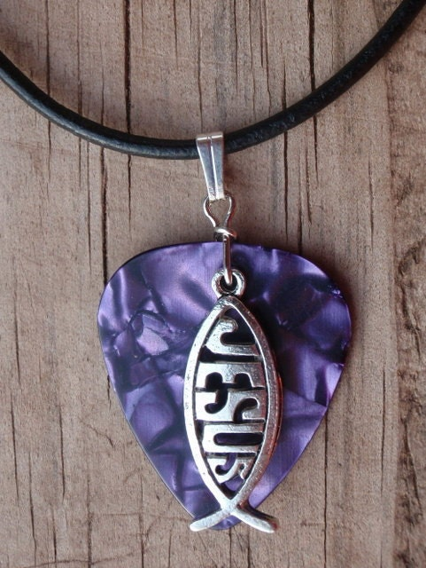 Leather icthus necklace jesus fish guitar by for Jesus fish necklace