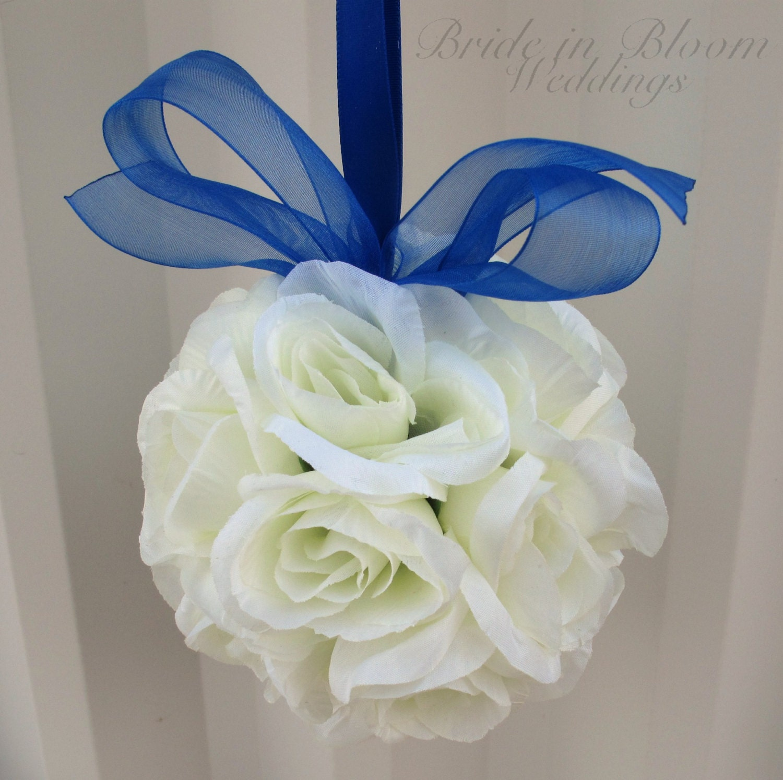 Ivory Flower Ball: Wedding Flower Balls Pomander Royal Blue By