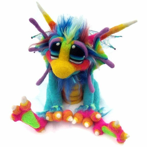 Made to Order OOAK Medium  Needle Felted Dragon Soft Sculpture Art Doll Plush Wool Fiber Fantasy Creature