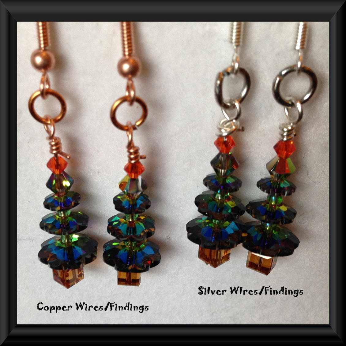 Christmas Tree SWAROVSKI Crystal EARRINGS: Sparkling Iridescent Red,Green & Gold Genuine Swarovski Crystals, Sterling Silver/Copper Earwires - TwinklingOfAnEye
