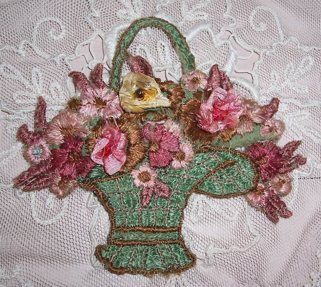 Antique silk embroidery applique flower basket by