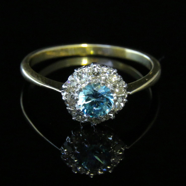 Antique Edwardian Blue Zircon  Diamond Cluster Ring