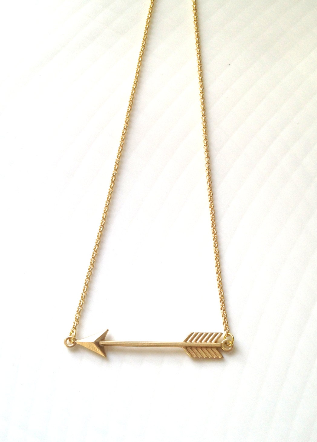 Matte Gold Arrow Necklace