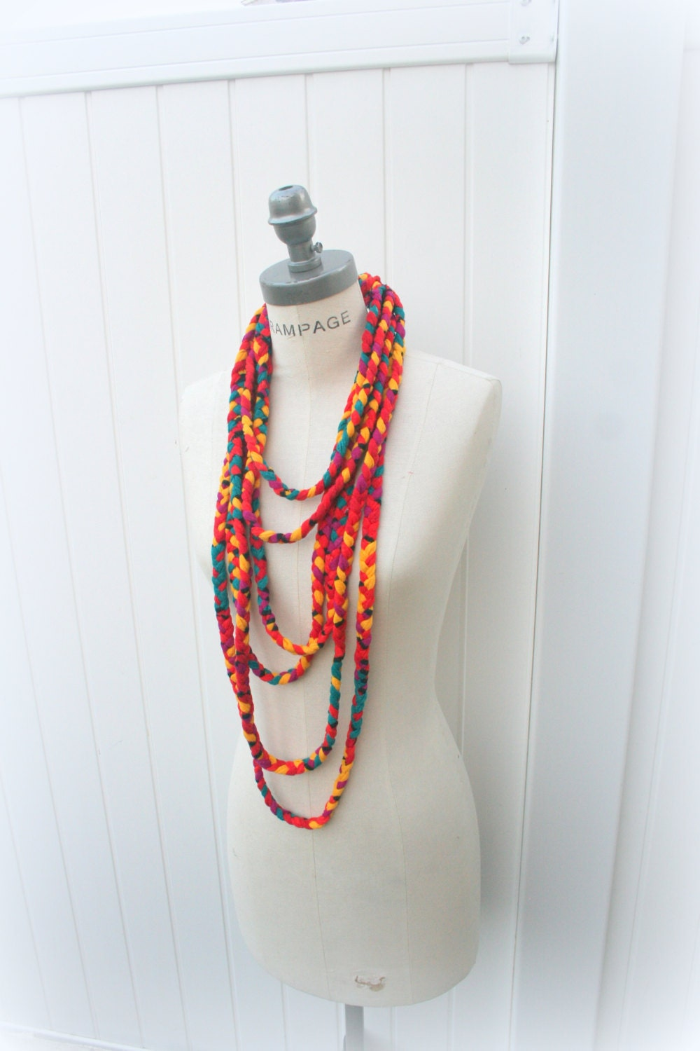 colorful cowl scarf braided infinity scarf by piyoyo