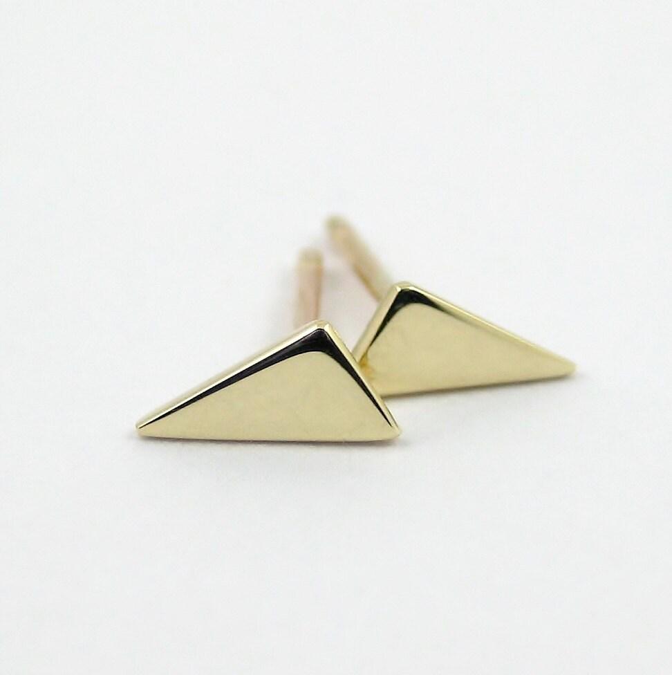 Tiny Triangle Earrings 9k Gold Triangle Stud Earrings Geometric Stud Earrings Simple Gold Earring Minimalist Earring