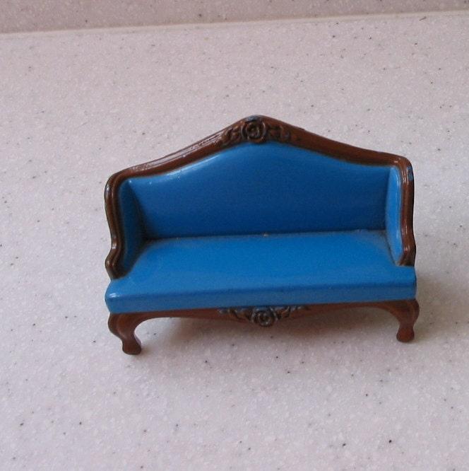 Vintage Mattel Cast Iron Dollhouse Miniature Sofa 1980 By Pocokiko