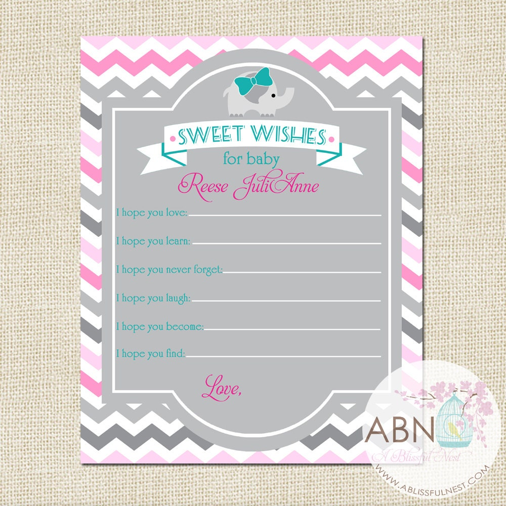 well wishes for baby card baby elephant baby by ablissfulnestshop