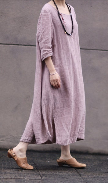 Pink women dress Cotton Linen women dress Long dress Girl Summer