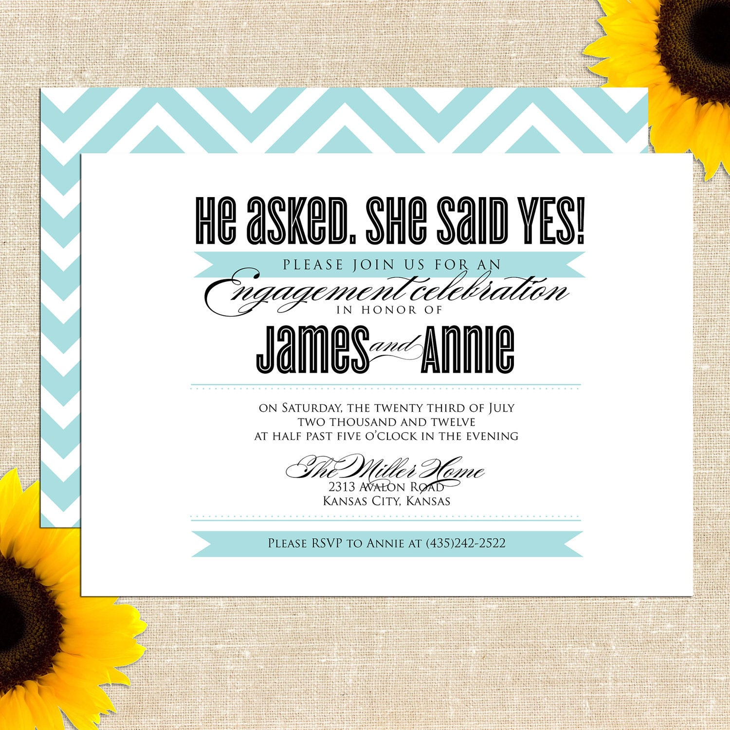 Annie engagement party invitation printed by for Etsy engagement party invites