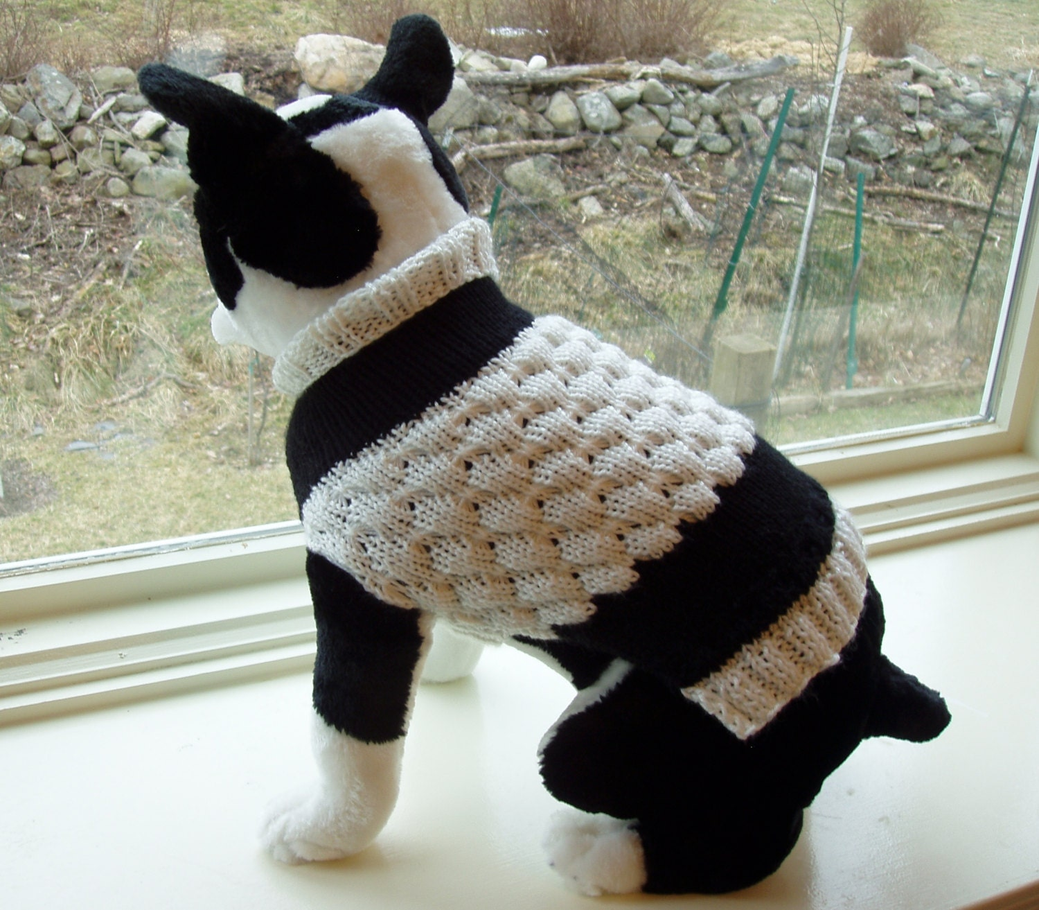 Knitting Pattern For Dogs Tuxedo : Dog Sweater Hand Knit Tuxedo 13 inches Long by jenya2 on Etsy