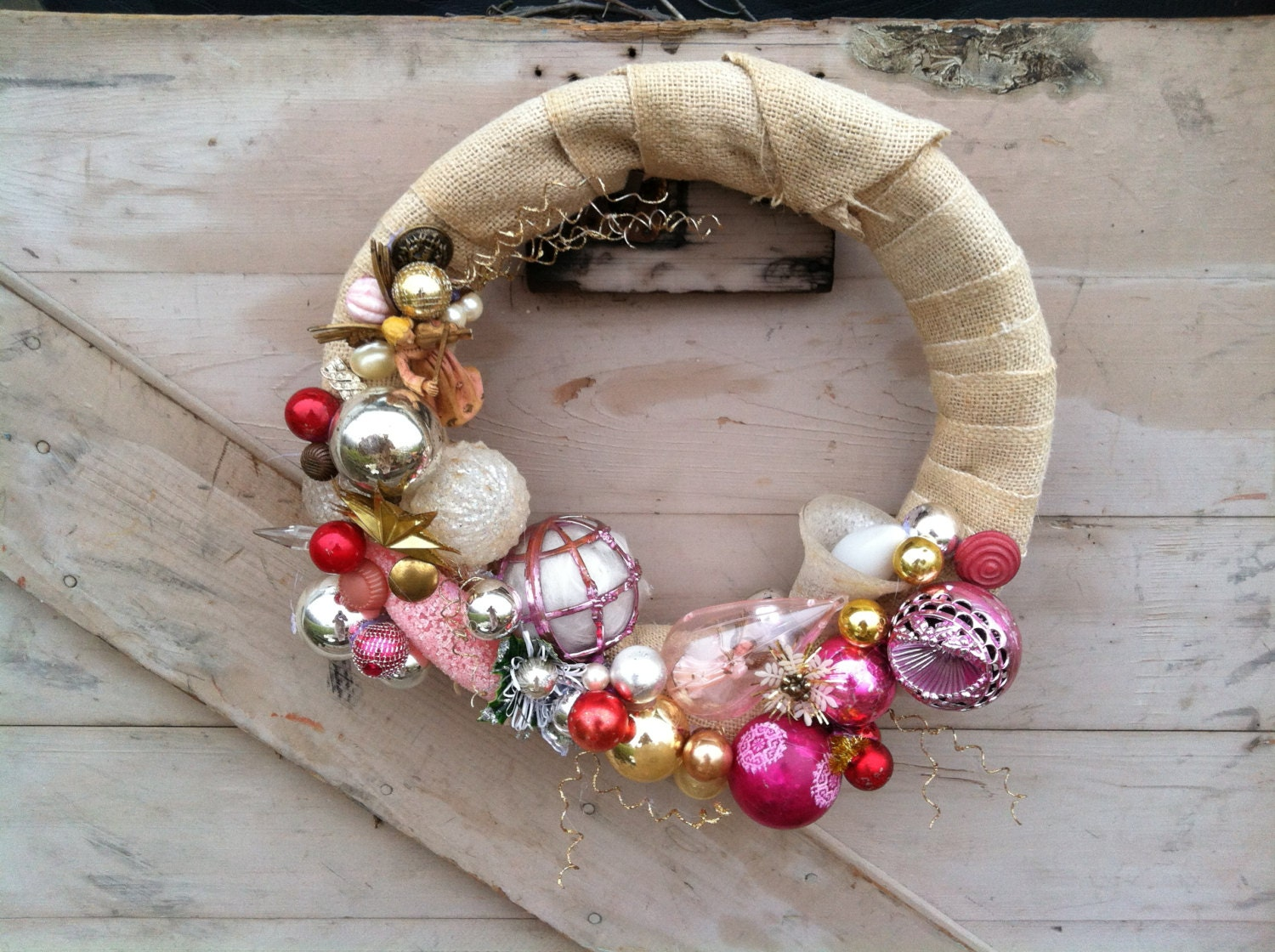 Christmas wreath-handmade-vintage ornament wreath-shabby chic pink on burlap - happydayantiques