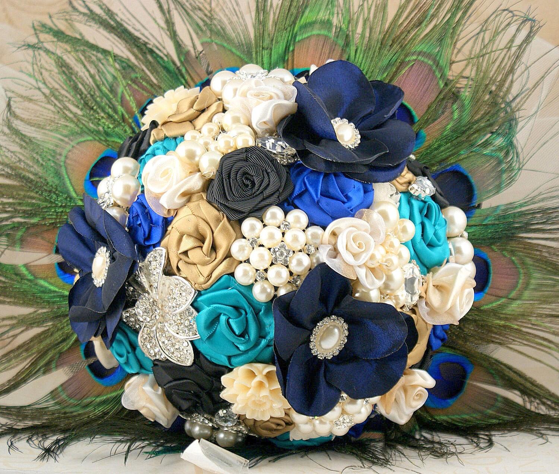 Брошь Букет Букет невесты в павлина, черный, синий, бирюзовый и какао с павлиньими перьями