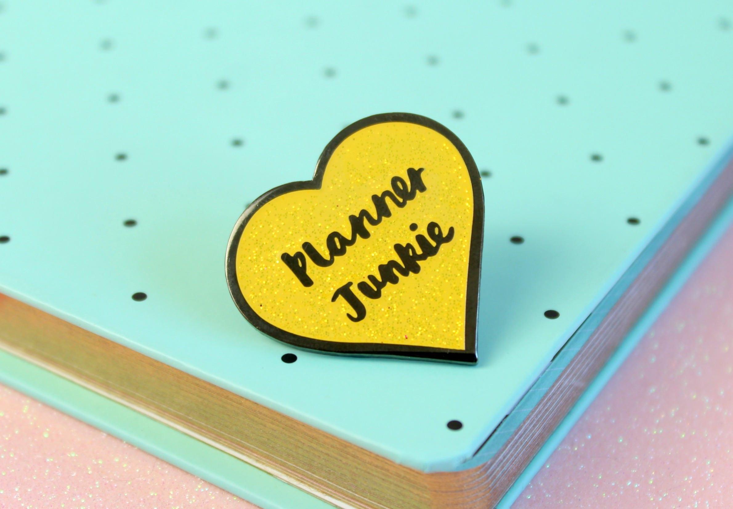 Planner Junkie Enamel Pin Planner lapel pin Heart Planner Pin Glitter Planner brooch  Claireabellemakes