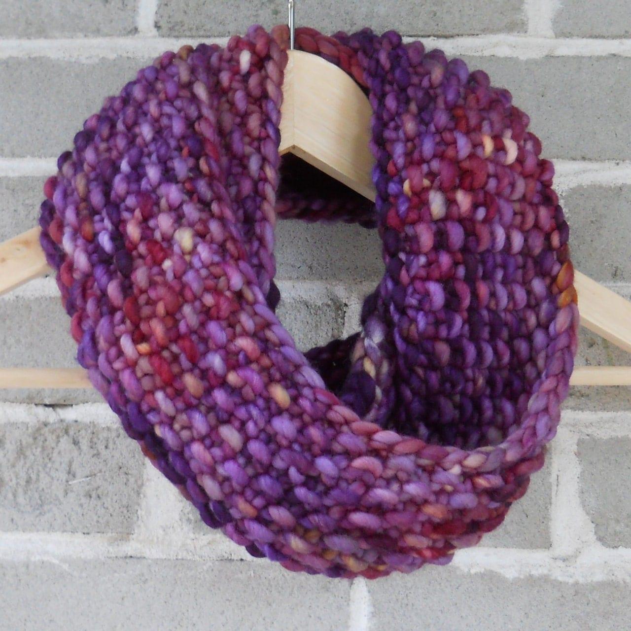 Twilight Purple Merino Wool Hand Knit Infinity Scarf - OopsIKnittedAgain