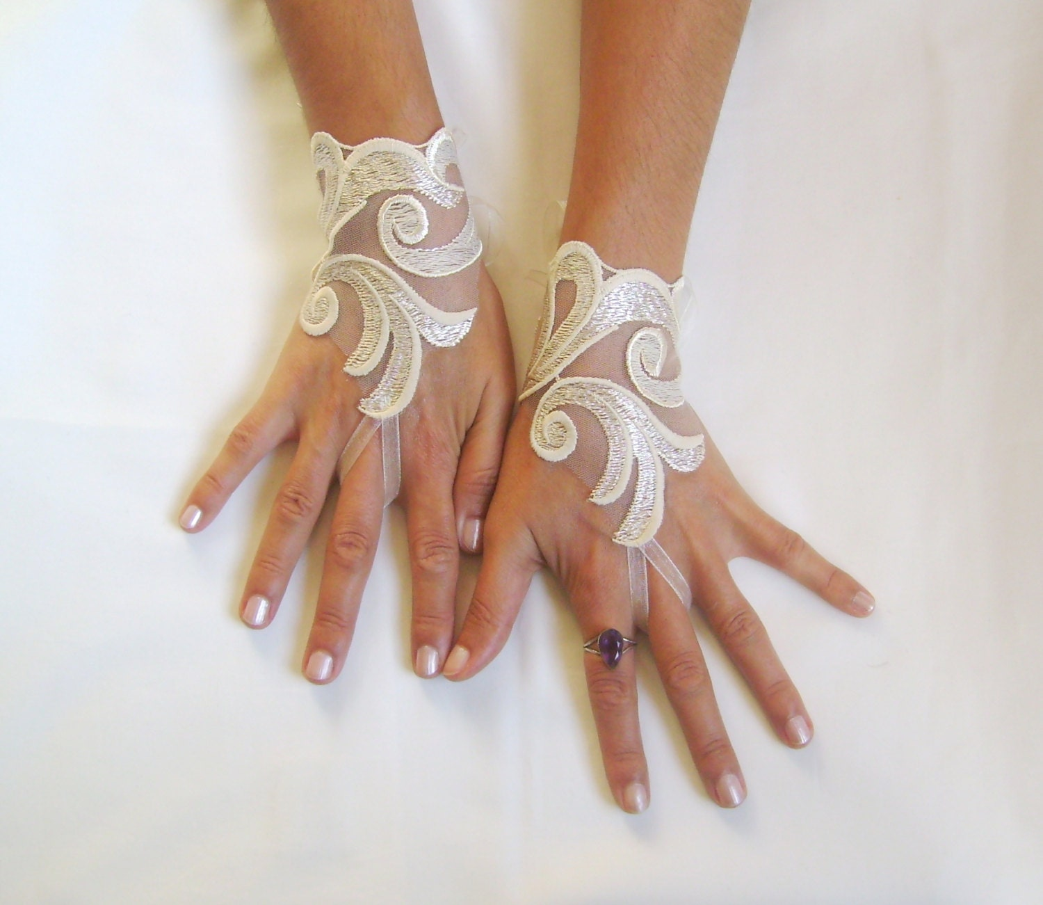 Cream beige lace gloves bridal wedding by glovesbyjana on etsy for Lace glove tattoo