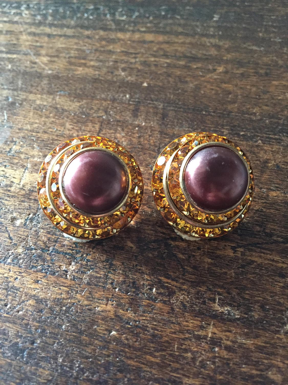Brown Lucite Earrings Amber Rhinestone 1950s Vintage Jewelry Mothers Day SALE