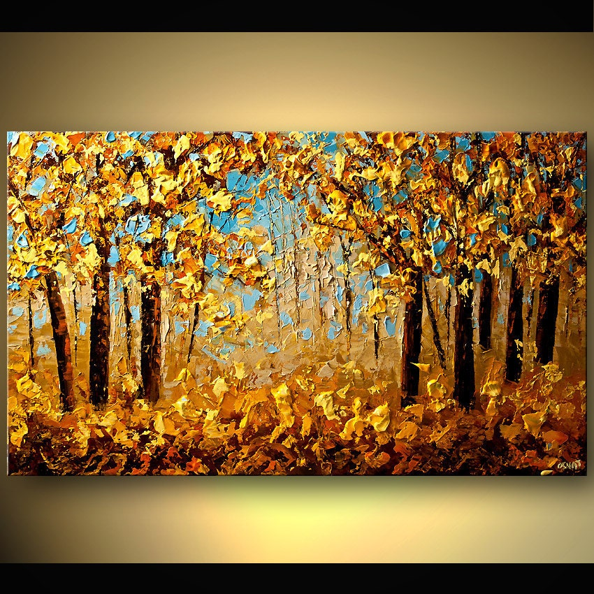 bright gold painting of fall foliage