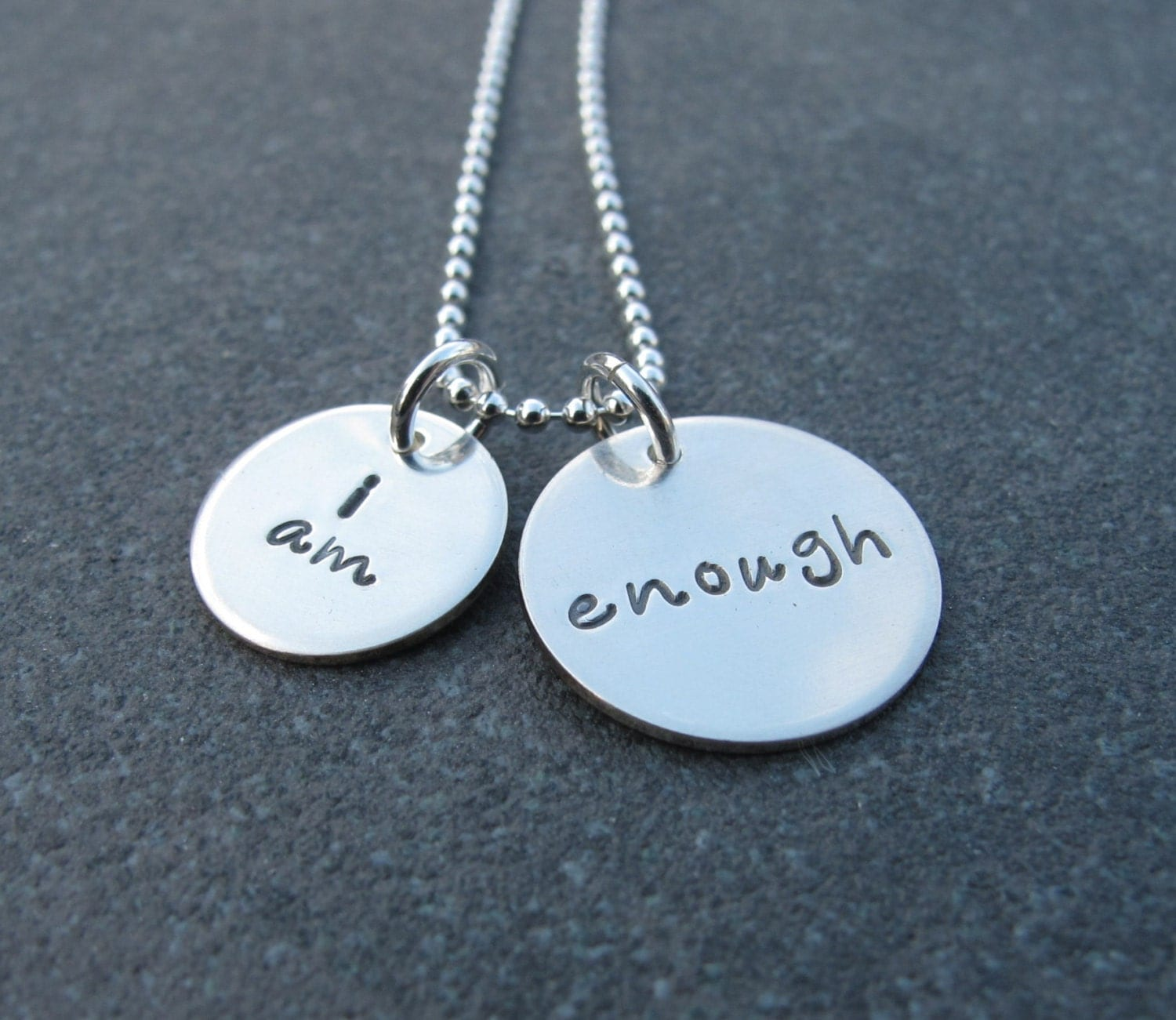 hand stamped jewelry i am enough necklace in by