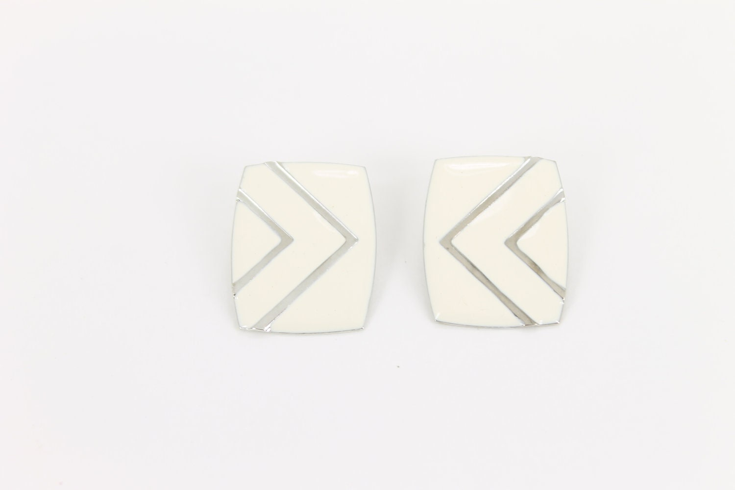 ivory earrings chevron rectangle square silver 1980s retro - gingerandjudy