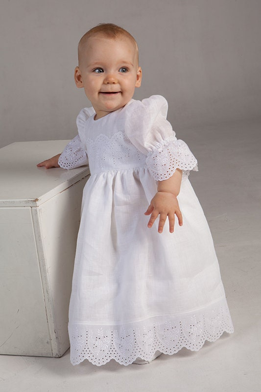 Baby girl baptism christening linen dress baby special by for Making baptism dress from wedding gown