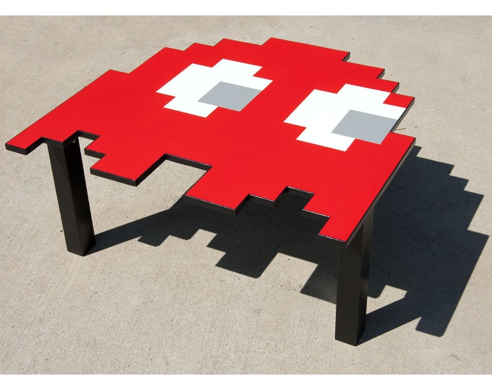 Handmade Pacman Ghost Table / Gamer Video Game Coffee Table, Kitchen Table, Kids Table, Desk, 80s, Pixel, 8 Bit - MastersOfFate