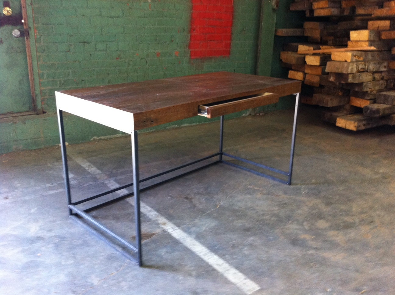 Items similar to Reclaimed Wood Desk with Push Release Pen Drawer ...
