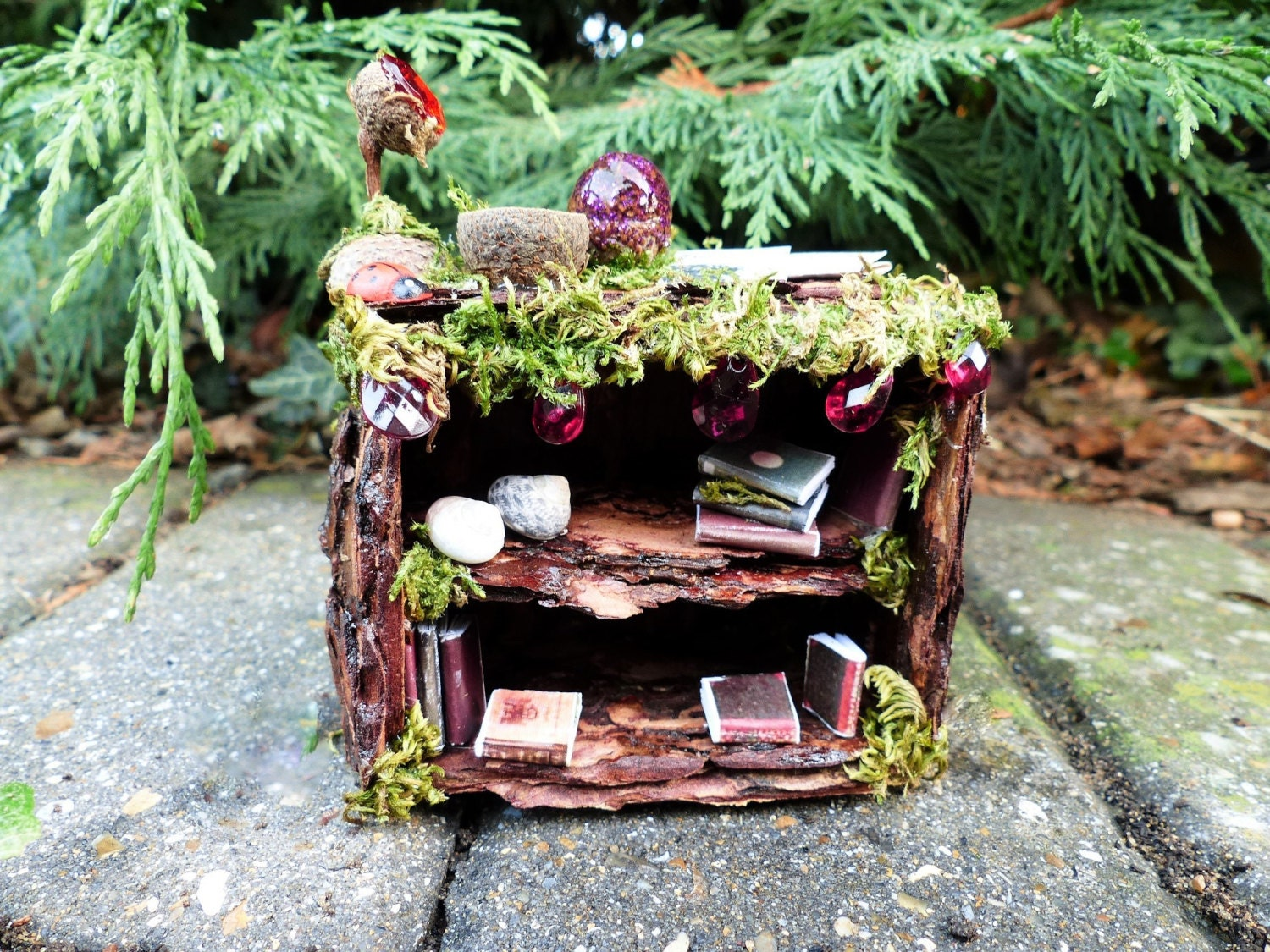 Fairy Bookcase  Fairy House Fairy Furniture Miniature Accessories Fairy Garden Dollhouse Miniatures Gift for Dad Miniature Bookcase