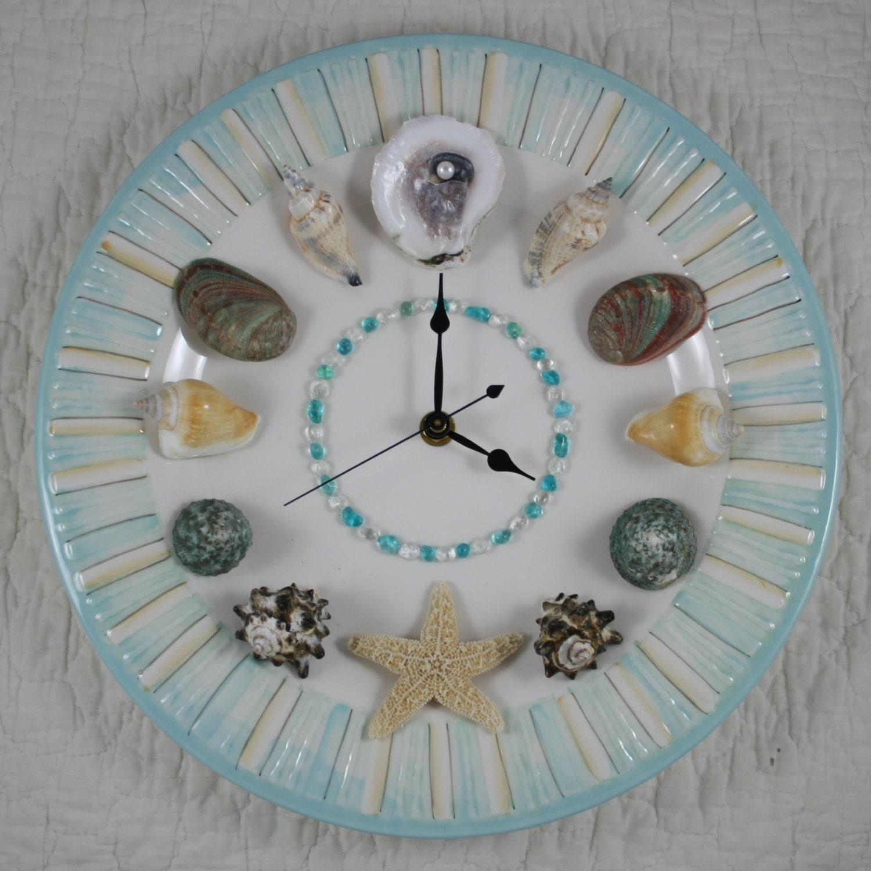 Seashell wall clock by artonthehalfshell on etsy for Seashell wall clock