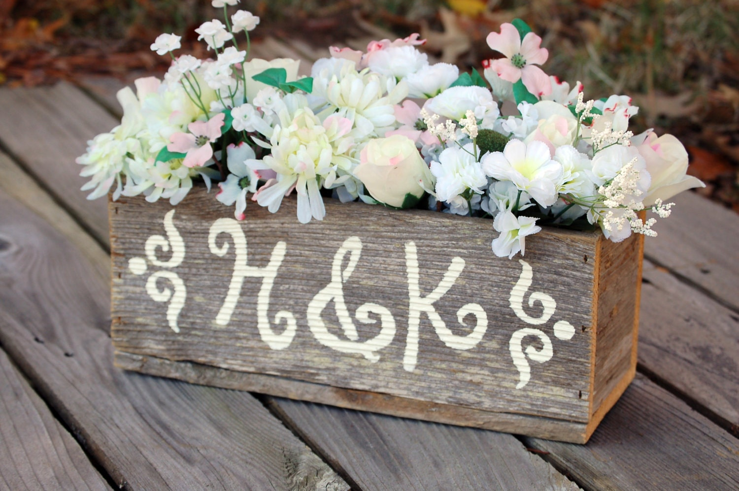 Personalized wood centerpiece flower vase flower by for Wedding mailbox decorating ideas