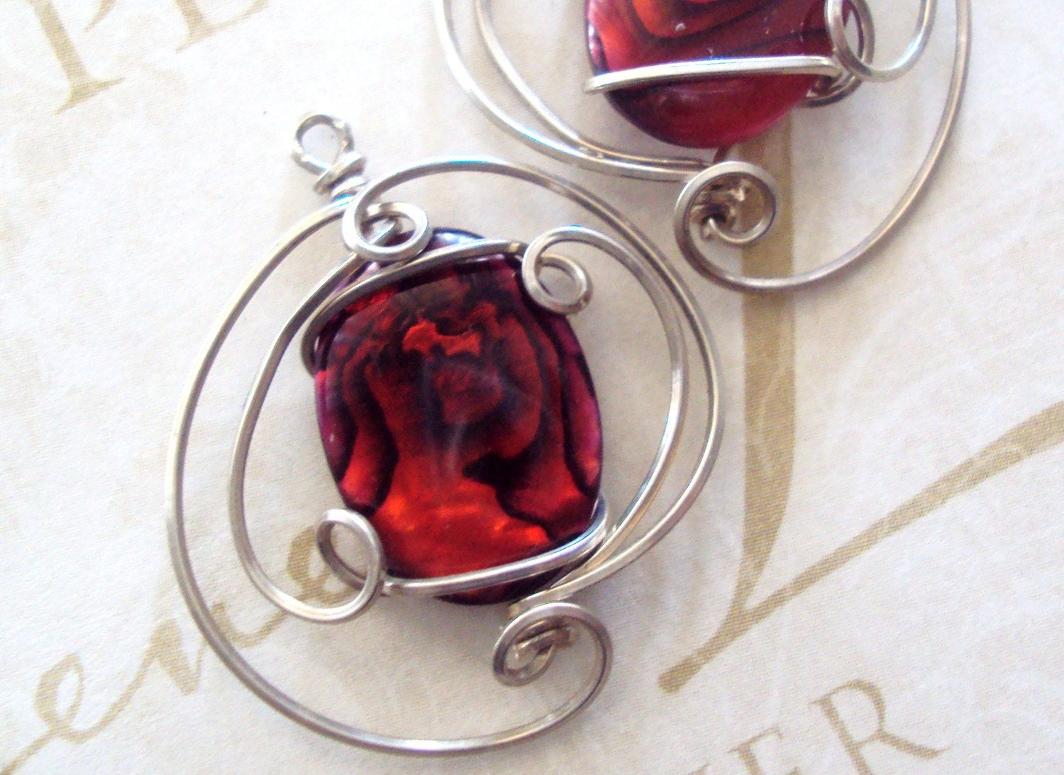 Red Queen Earrings Paua Shell Wirewrapped  in  Sterling Silver