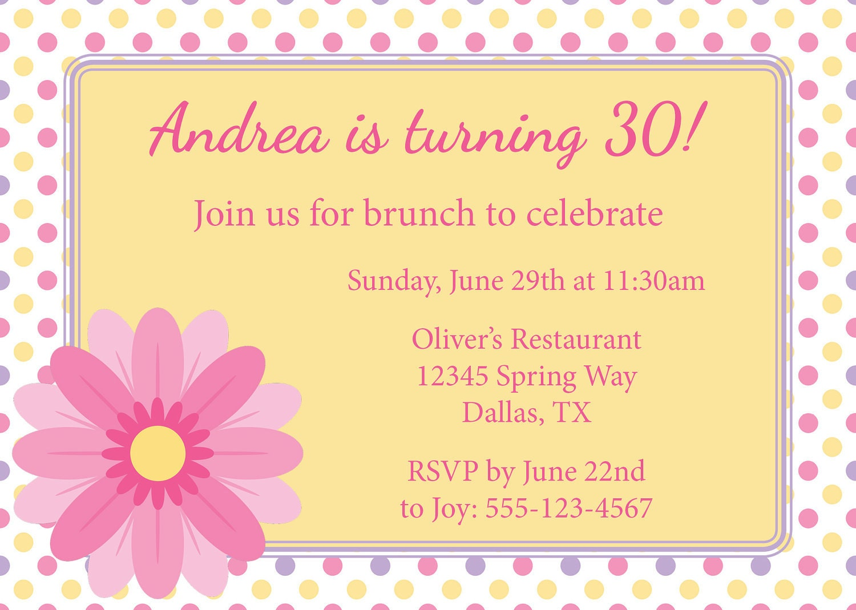 Birthday Brunch Invitation Template  Lunch Invitation Templates