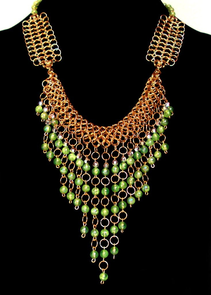 Green and gold necklace - egyptian inspired necklace - egypt inspired