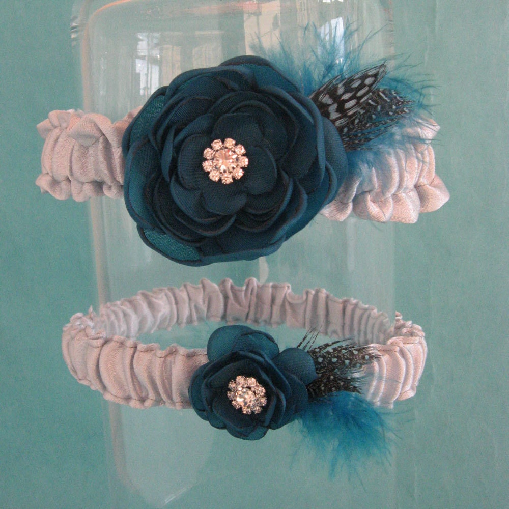 Dark Teal and Silver Satin Feather Rose Wedding Garter Set A183 bridal