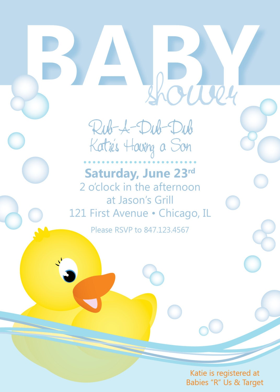baby shower invitation rubber ducky by collidestudio on etsy
