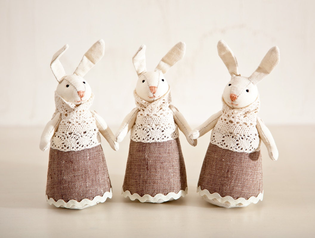Set of 3. Rabbits handmade. Home Decor. Art. Decorative Toys For Room, Child's Room Decoration - JuliaWine
