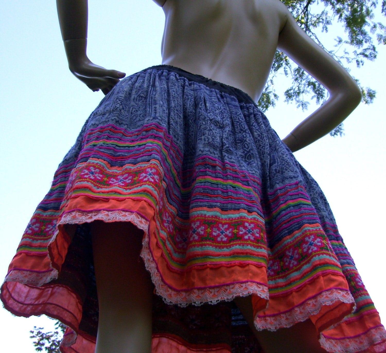 Hmong batik skirt urban vintage mini hippie bohemian gypsy lace
