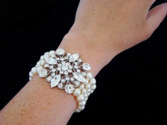 Reserved Brooch Bridal Bracelet, Pearl Wedding Bracelet, Vintage Rhinestone Cuff  -  The Bianca  -  Pearl Bridal Bracelet