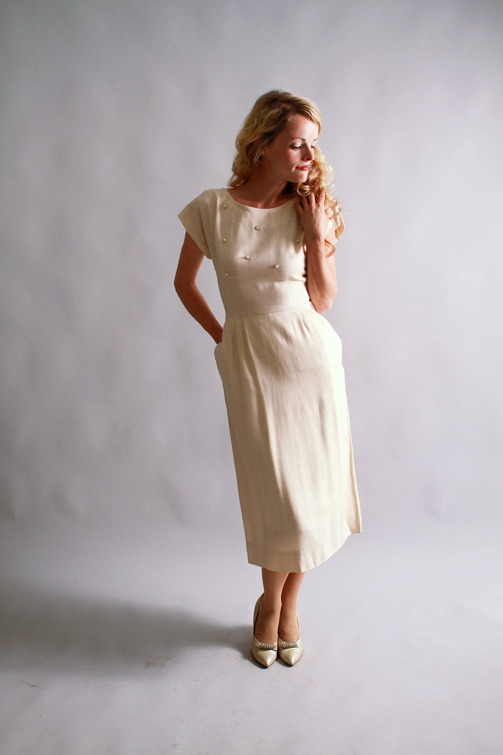1940s 1950s dress 40s 50s linen dress by camilliaheirloom for 1950s wedding guest dresses