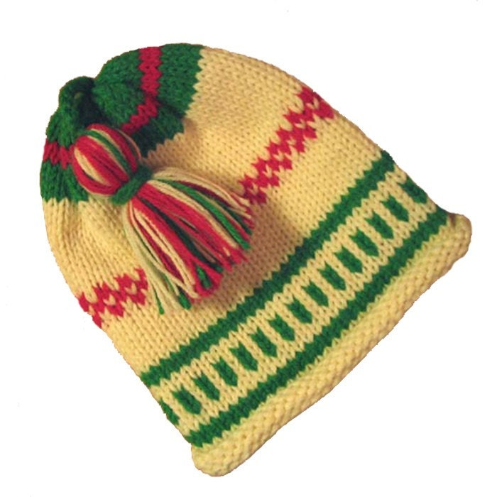 Baby Christmas Hat in Hand Knitted Wool Fair Isle