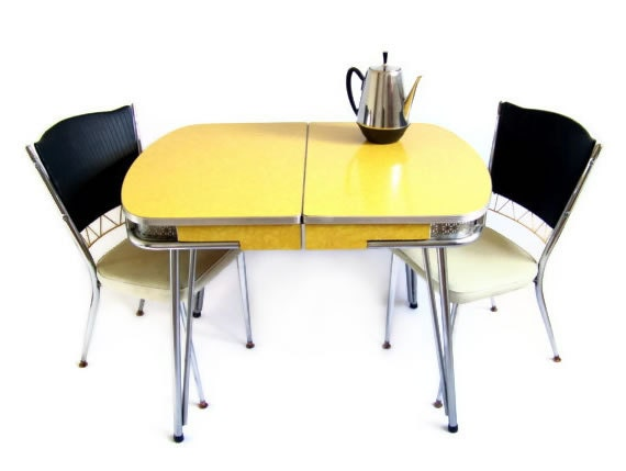 Vintage Kitchen Table Yellow Marbled Formica By Stonesoupology