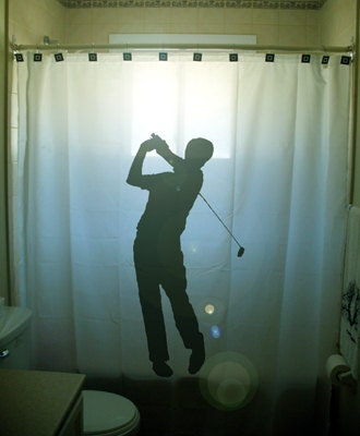 Golf Shower Curtain Golfer Bathroom Decor by CustomShowerCurtains