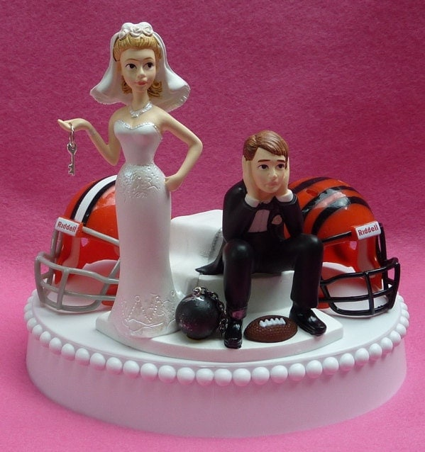 Wedding Cake Topper Team Rivalry Football House Divided By WedSet