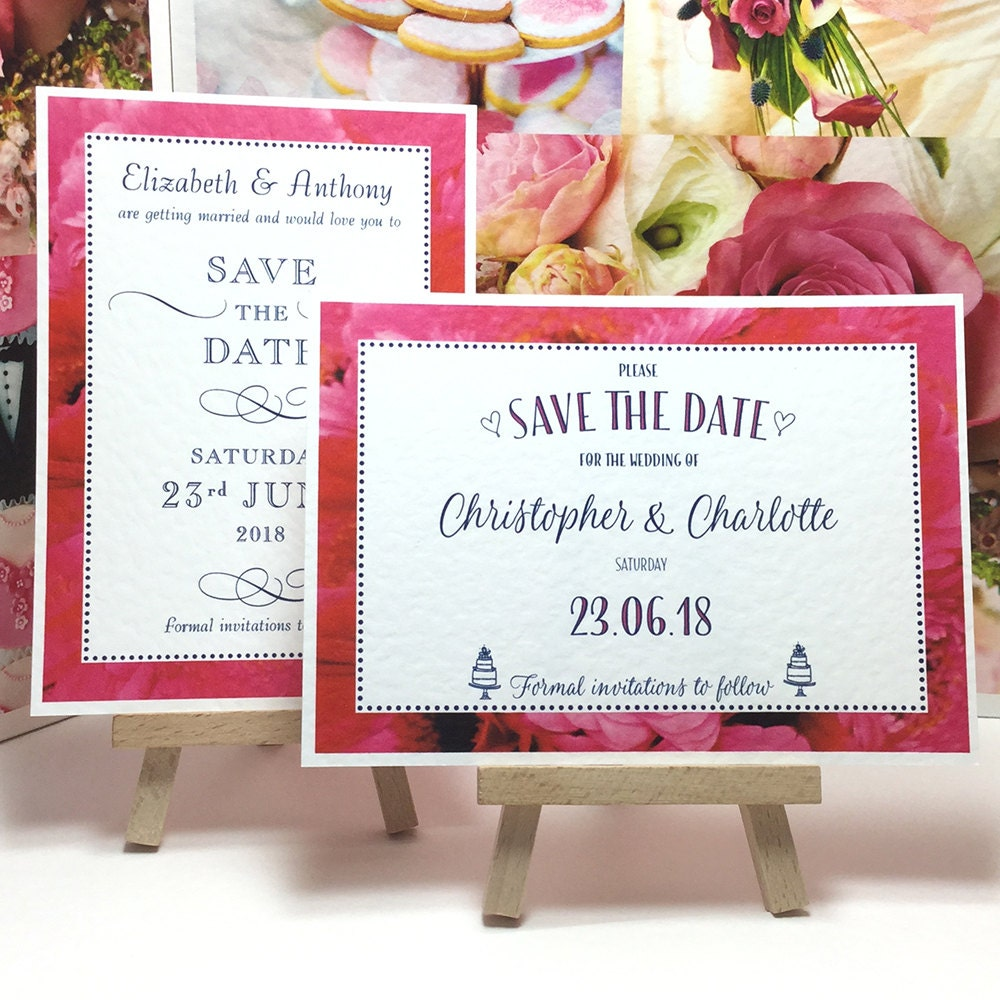 Hot PINK Wedding SAVE the DATE cards with Gerbera Daisy border pattern Dark Blue lettering personalised  printed on white textured card.