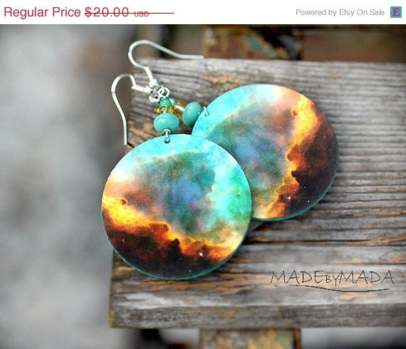 SALE Galaxy Earrings Nebula Space Dangle Round Jewelry, diameter 4cm (1,57 inch) , gift for her under 25 - MADEbyMADA