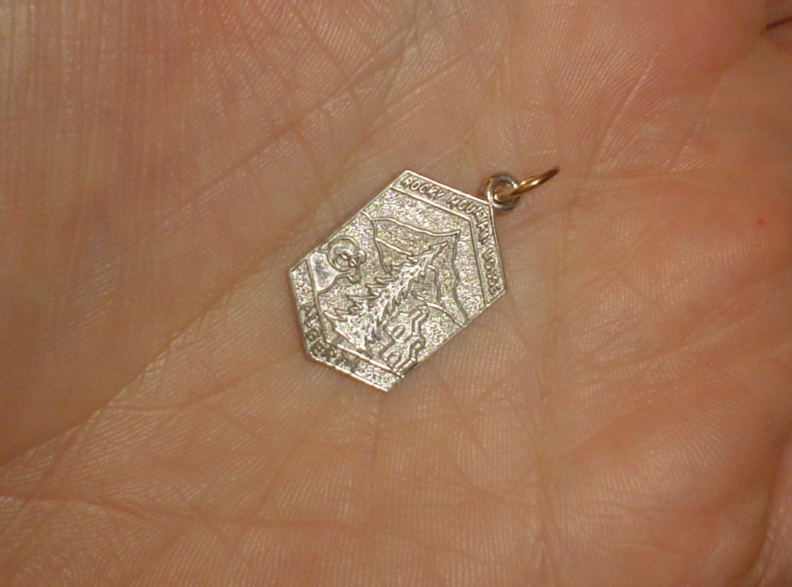 Sterling silver travel charm Rocky Mountain House Alberta Canada vintage for bracelet