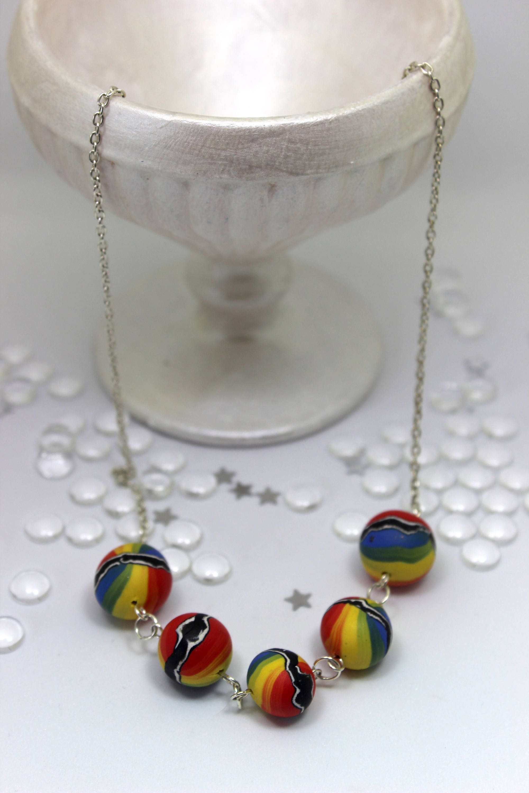 Rainbow Beaded necklace Clay necklace Beaded necklace Rainbow necklace Gift for girlfriend Hippy necklace Silver necklace Wife gift
