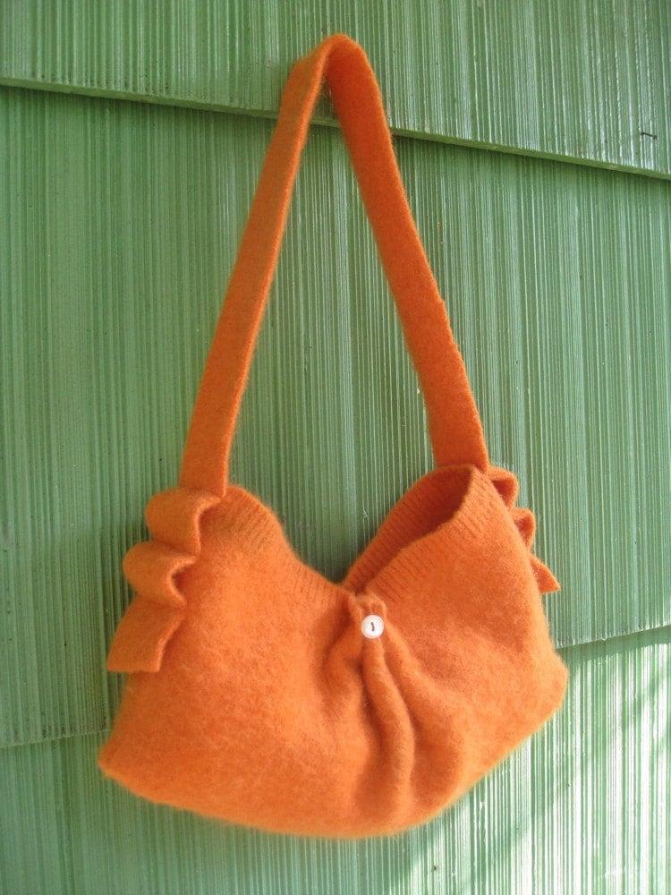 Orange purse -- upcycled wool